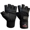 KOBO Leather Weight Lifting Gloves (3614),  Black  Small
