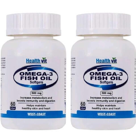 Healthvit Omega 3 Fish Oil 500 mg (Pack of 2),  60 softgels
