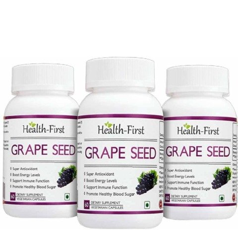 Health first Grape Seed - Pack of 3, 60 veggie capsule(s)