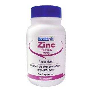 Healthvit Zinc Gluconate (50mg),  60 capsules