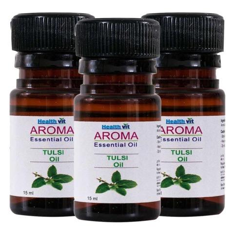 Healthvit Aroma Tulsi (Basil) Oil, for All Hair Types 15 ml - Pack of 3