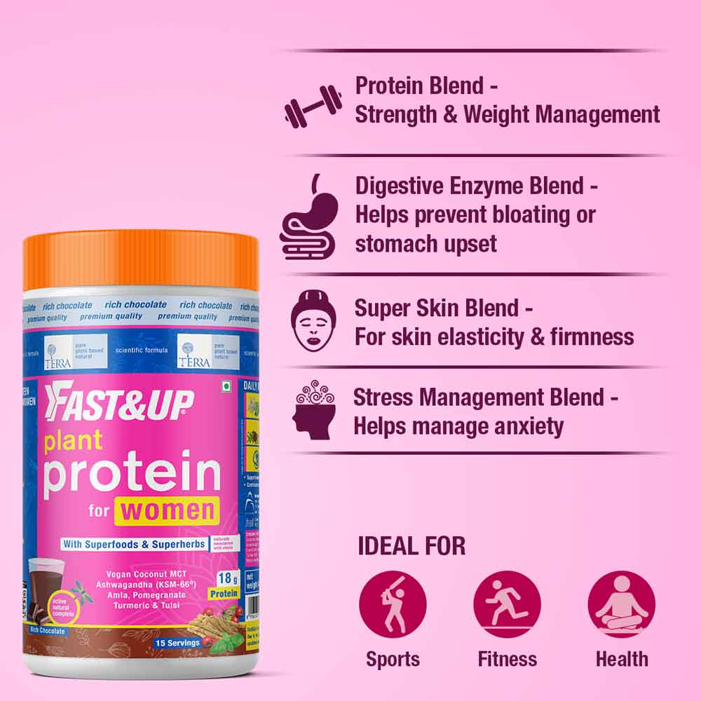 4 - Fast & Up Plant Protein & Superfood for Women,  Chocolate  0.99 lb