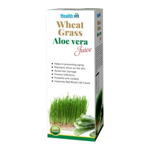 Healthvit Wheat Grass Aloevera Juice,  Natural  0.500 L