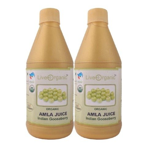 Live Organic Amla Juice - Pack of 2, Natural 0.500 L