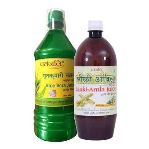 Patanjali Aloe Vera Juice with Fiber + Amla Juice Lauki