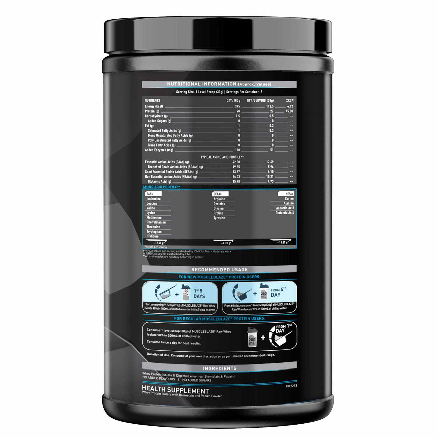 11 - MuscleBlaze Raw Whey Isolate,  0.55 lb  Unflavoured