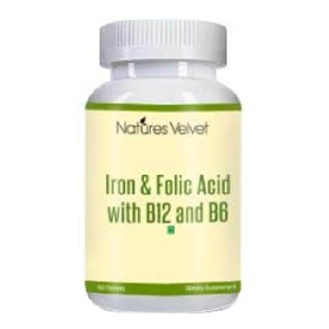 Natures Velvet Iron & Folic Acid with B12 and B6,  60 tablet(s)