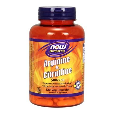 Now Arginine and Citrulline (500/250mg),  120 capsules