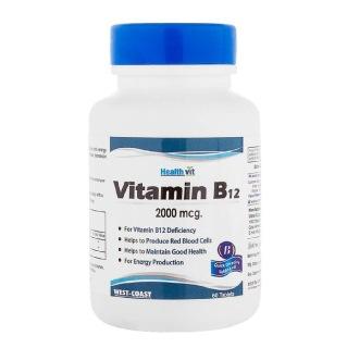 Healthvit Vitamin B12 (2000 mcg),  60 tablet(s)  Unflavoured