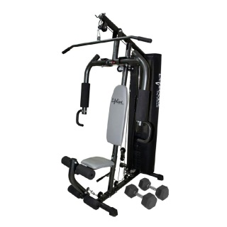 Lifeline 68 kg Gym for Workout at Home with Round Pipe and Cover Bonus 5 Kg Dumbbells Pair