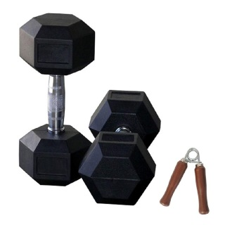 Aurion Hex Dumbbells with Hand Grip,  Black  10 kg