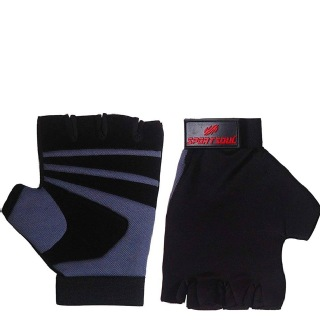 2 - SportSoul Fingerless Cycling & Gym Gloves,  Grey & Black  Small