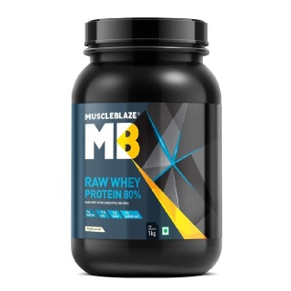 MuscleBlaze 80% Raw Whey Protein Supplement Powder,  2.2 lb  33 Servings (Unflavoured)