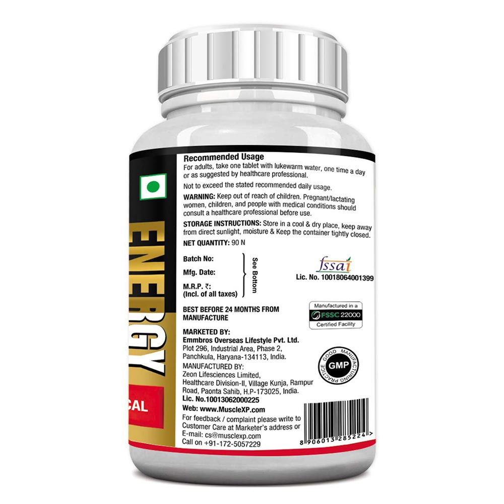 Manufactured - MuscleXP Men Daily Vital Energy,  90 tablet(s)  Unflavoured